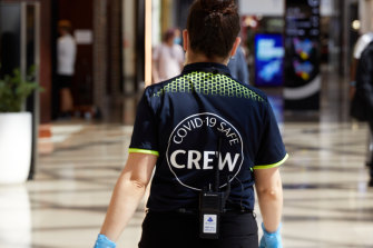 A member of Chadstone's COVID safe crew.