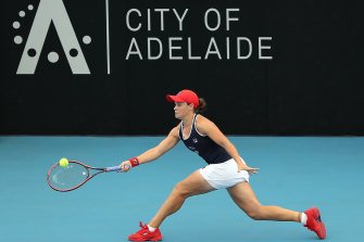 Ashleigh Barty in action at the 2020 Adelaide International. The city may act as a quarantine venue for some players for this year's Australian Open.