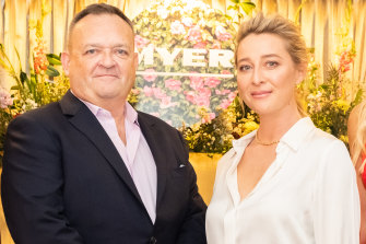 Myer CEO John King with actor and store ambassador Asher Keddie at its spring fashion lunch in September.
