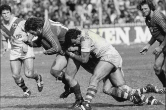 Grand final action in 1977.