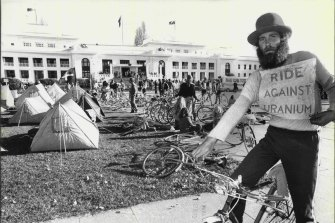 David Clarke and the tent protest outside Parliament House.
