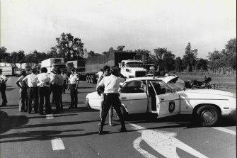 Police at the truck blockade on Razorback Mountain. April 3,, 1979.