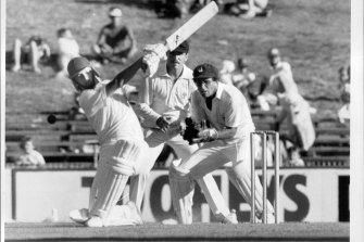 A 19-year-old Steve Waugh hits out in the 1985 Sheffield Shield final against Queensland, making 71 in the first innings.
