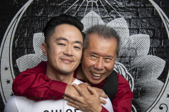 Photographer William Yang with writer Benjamin Law in Sydney this month.