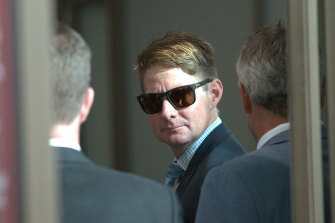 Trainer Jarrod McLean arrives at court on Wednesday.