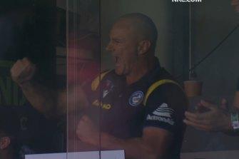 Brad Arthur pumps a fist after son Jakob scores on debut for Parramatta.