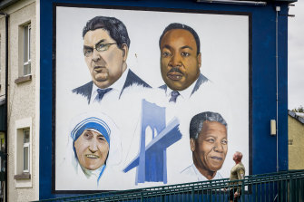 A mural in the Bogside area of Londonderry depicts John Hume alongside Martin Luther King jnr, Mother Teresa and Nelson Mandela.