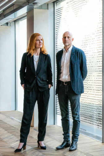 Crawford and artist Trevor Paglen at Milan's Fondazione Prada, which hosted their Training Humans exhibition in 2019.