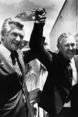 Alan Bond with Bob Hawke. Celebrating the America's Cup win, 1983.