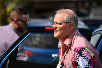 Welcome mat to go?: Australia's Prime Minister Scott Morrison arrives at the Leaders Retreat during the Pacific Islands Forum last week in Funafuti, Tuvalu.