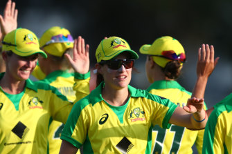 Megan Schutt, pictured celebrating with Australia after game one of the ODI series, says the Big Bash is relaxing.