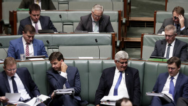 Barnaby Joyce's empty seat, (centre).