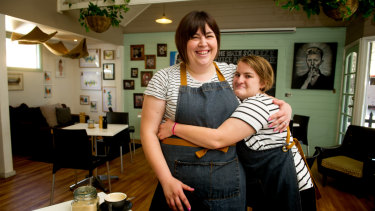 The Big Green Cup Cafe owner Sarah Schiliro with employee Edwina Marchant.