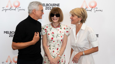 Baz Luhrmann (left), Anna Wintour (centre) and Australian federal politician Julie Bishop (right) react at the 2019 Australian Open Inspirational Series Brunch in Melbourne, on Thursday January 24, 2019.