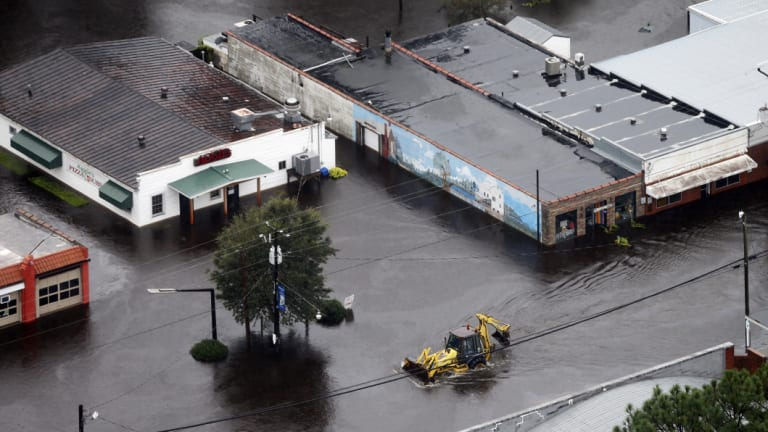 Streets of Trenton, North Carolina, remain inundated with water.