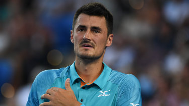 Bernard Tomic lost to Marin Cilic during day one of the Australian Open.