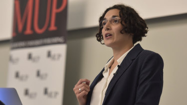 Dr Joelle Gergis speaks at the Melbourne University launch of her book <i>Sunburnt Country</i> in April.