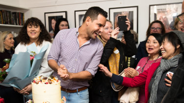 """""""Their service is critically important"""": Alex Greenwich at Lou's Place on Friday for their 20th anniversary celebration."""