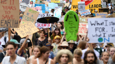 School students take part in a climate change strike in Brisbane.