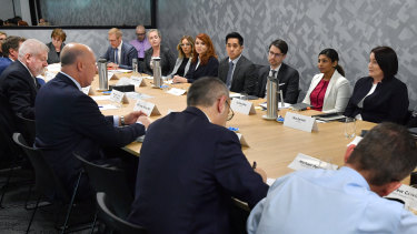The meeting of government officials, social media companies, and internet service providers in Brisbane on Tuesday.