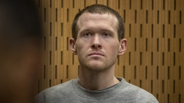 Australian Brenton Harrison Tarrant stands in the dock at the Christchurch High Court.