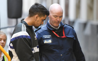 Codey Herrmann arrives at the Supreme Court in Melbourne on Tuesday