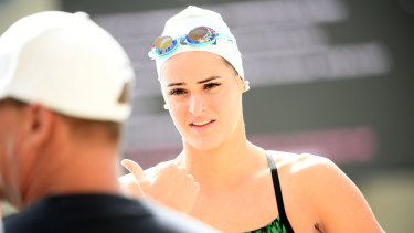 Rising swimming star Kaylee McKeown trains on the Gold Coast.