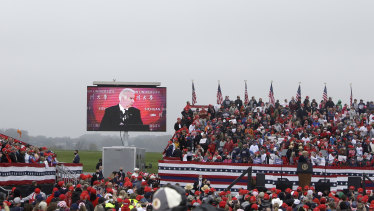 Trump played the same video at his earlier rally at Lancaster Airport in Lititz, Pennsylvania.