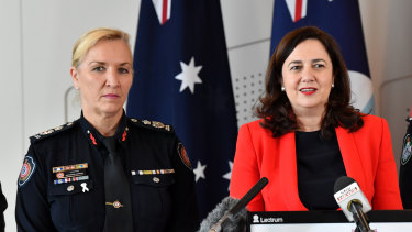 Queensland Premier Annastacia Palaszczuk (right) announcing Katarina Carroll as the next Queensland Police Commissioner.