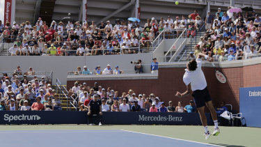 Herbert serving to Kyrgios during the second round of the US Open.