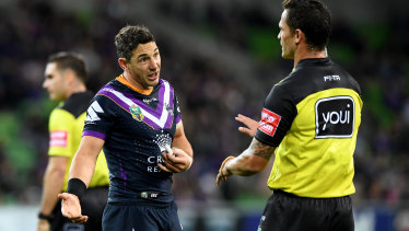 Storm full-back Billy Slater pleads his case during a match that kept the referee on his toes.