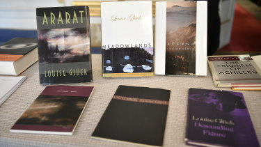 Books by Louise Gluck are displayed during the announcement of the 2020 Nobel prize in literature.