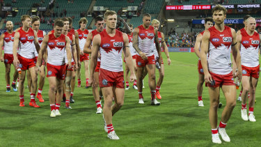 Sloppy start: Dejected Swans players leave the field after Friday night's defeat at home to Adelaide.