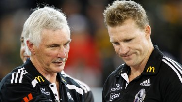 Mick Malthouse and Nathan Buckley in 2011, before Buckley took the reins from his mentor.