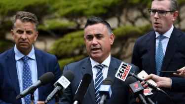 Deputy Premier John Barilaro with Transport Minister Andrew Constance (left) and Treasurer Dominic Perrottet (right) earlier this month.