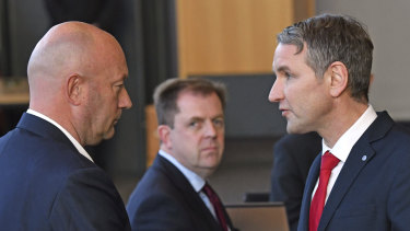 AfD parliamentary party leader Bjoern Hoecke, right, and Thomas Kemmerich of the Free Democrats in Erfurt, Germany.