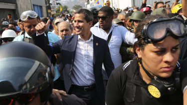 Juan Guaido greets supporters during an attempted military uprising on Tuesday.
