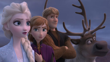 Elsa (Idina Menzel), Anna (Kristen Bell), Kristoff (Jonathan Groff) and Sven in are back and on a new mission in Frozen 2.