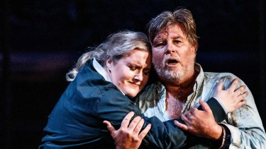 Kirstin Sharpin and Bradley Daley in Melbourne Opera's production of Beethoven's Fidelio.