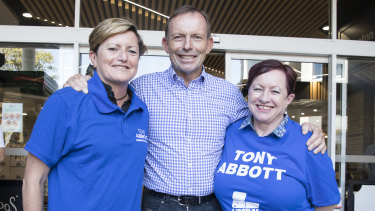 Christine Forster, pictured campaigning for her brother Tony Abbott with her wife Virginia Edwards last month.