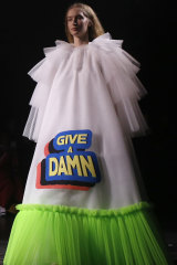 The 'Give a damn' dress at Viktor & Rolf.