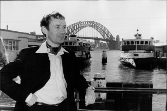 Severin at Sydney's Circular Quay on a promotional tour for The Brendan Voyage in 1979.