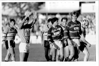 Bill Harrigan sends Des Hasler (out of shot) to the sin bin at Endeavour Field in 1987 ... to the chagrin of Bob Fulton.
