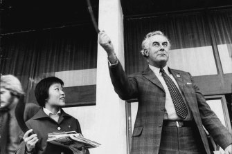 Gough Whitlam, pictured in 1972, established the predecessor to the National Archives. Historian Jenny Hocking has long been seeking papers relating to his dismissal from office.