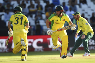 Dave Warner and Aaron Finch's opening stand exceeded South Africa's score.