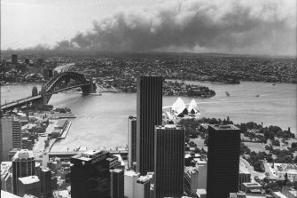 The Terrey Hills bush fires from the MLC Center in the City. December 17, 1979