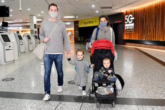 Geoff Howland and partner Juliet Messent with kids Emilia and Fletcher were flying home to New Zealand so their loved ones could meet 10-month-old Fletcher for the first time.