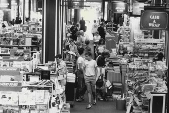 The bustling Co-op bookshop in Pitt Street, Sydney, in 1983.