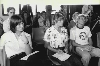 Former Olympian Lisa Forrest, centre, at a metting in April 1980 to discuss the boycott of the Olympic Games in Moscow.