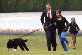Malia Obama runs with Bo, followed by President Barack Obama and Sasha Obama, on the South Lawn of the White House in Washington in 2009. Bo has died after a battle with cancer, the Obamas said on social media.